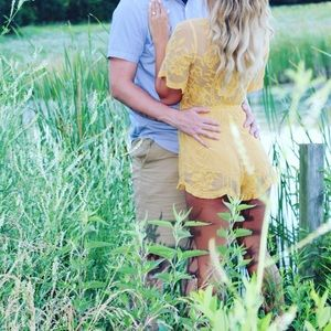 Honey Punch mustard lace romper